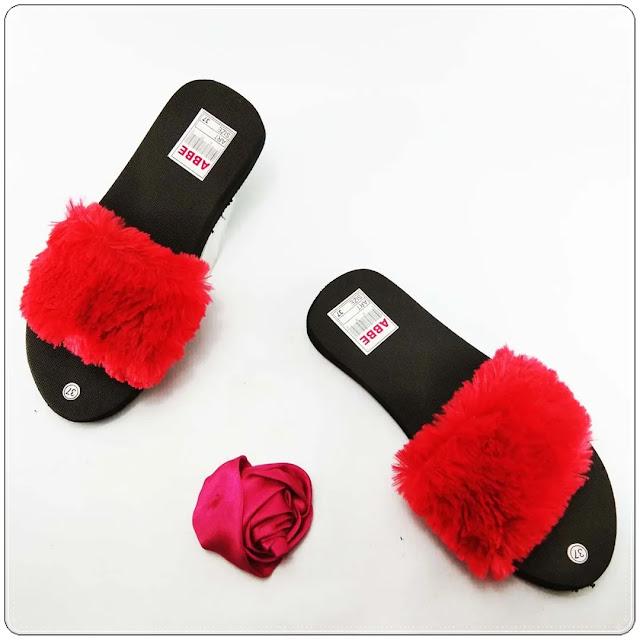 Pabrik Sandal Slop Bulu Termurah - Sandal Teplek Slop Bulu GSJ