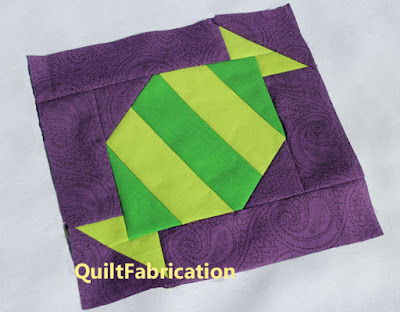 green penny candy quilt block by QuiltFabrication