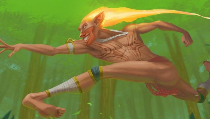 Imagem: ilustração do Curupira como um garoto com roupas indígenas, rosto alongado, cabelos feitos de fogo e pés virados para trás em posição de salto e fundo em árvores.