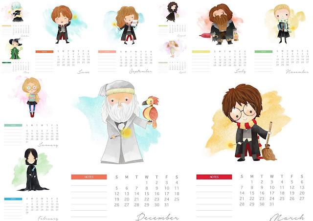Harry Potter Free Printable 2021 Calendar.