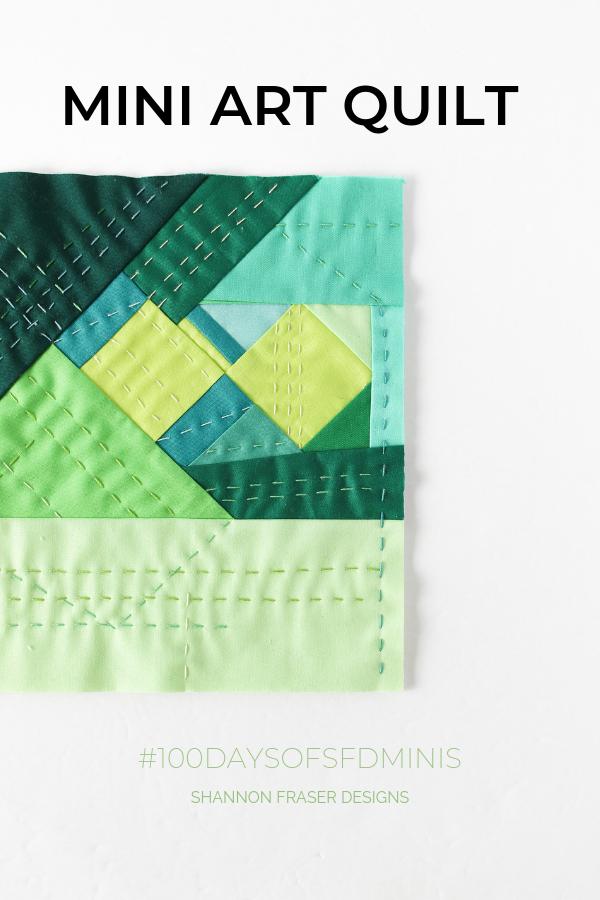 Hand quilted improv mini art quilt | Q3 Finish-a-Long 2019 | Shannon Fraser Designs #miniquilt #artquilt #fiberart #improvquilting