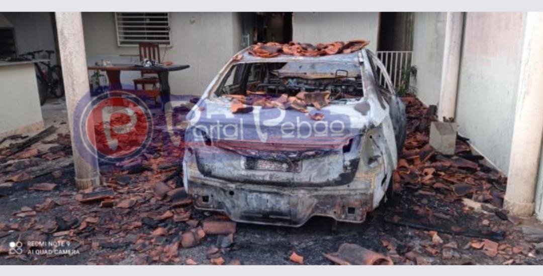 Transformador de energia pega fogo em Parauapebas, e incêndio atinge carro.