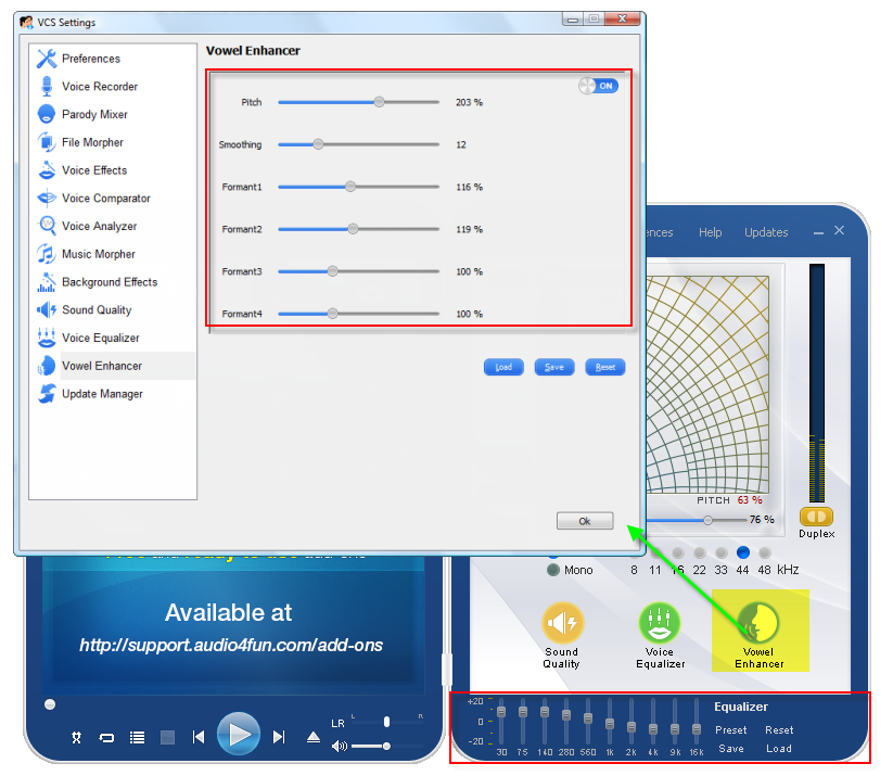 Voice Changer Software 8.0 Diamond Vowel Enhancer settings
