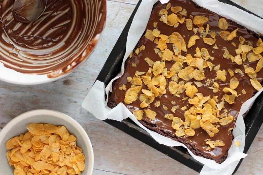 Finished chocolate cornflake slice