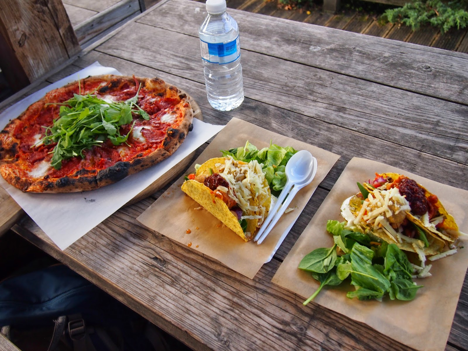 Pizza and tacos from Open Kitchen in Vilnius.