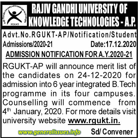 RGUKT IIIT 2020 Admissions Schedule and Counseling dates
