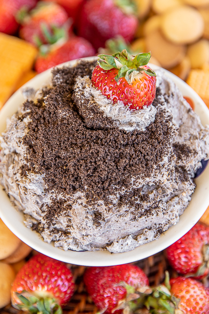 Oreo dip in a bowl with strawberries