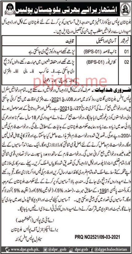 Latest Balochistan Police Labor Posts 2021