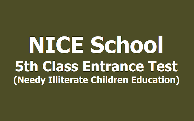 NICE School 5th Class Entrance Test 2019 (Needy Illiterate Children Education)