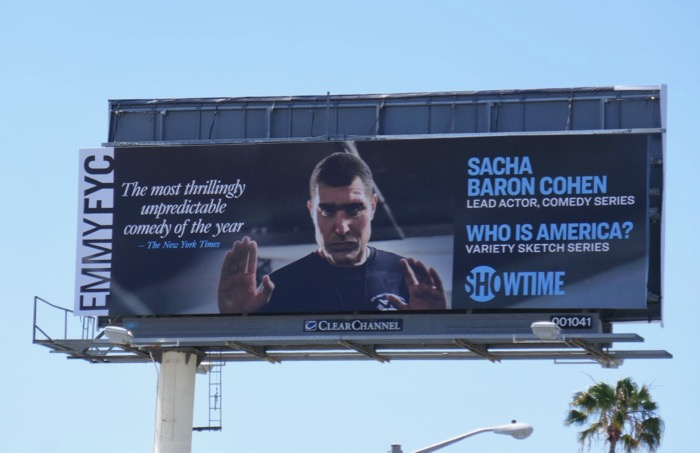 Sacha Baron Cohen Who Is America Emmy FYC billboard