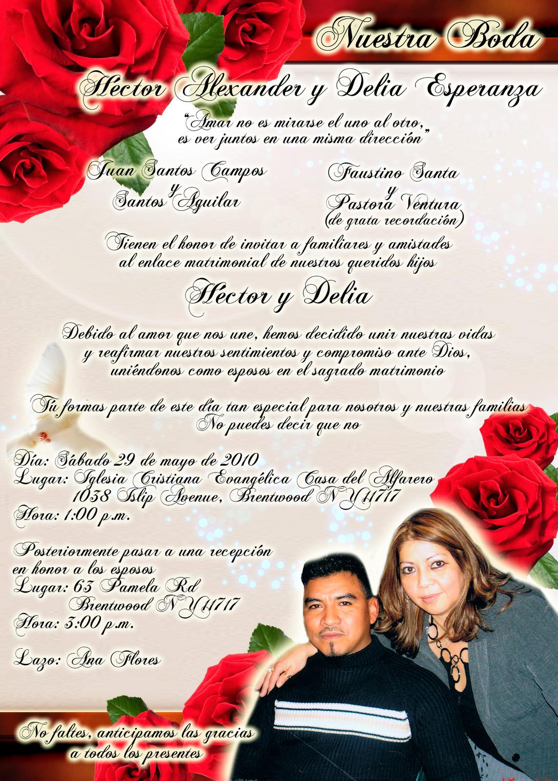Invitaci n de boda elegante y novedosa roja con rosas - Disenos tarjetas de boda ...