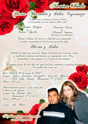 Tarjeta de Invitación para Boda Elegante y Novedosa Roja con Rosas Rojas Personalizada con Fotografía