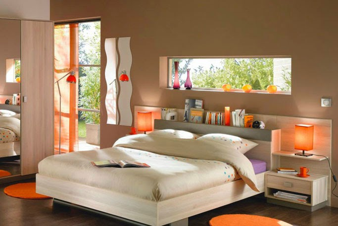 deco chambre orange et marron