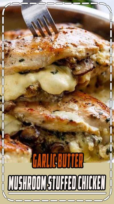 Cheesy Garlic Butter Mushroom Stuffed Chicken WITH an optional Creamy Garlic Parmesan Sauce! ALL Garlic Mushroom lovers... this is THE chicken recipe of your dreams!