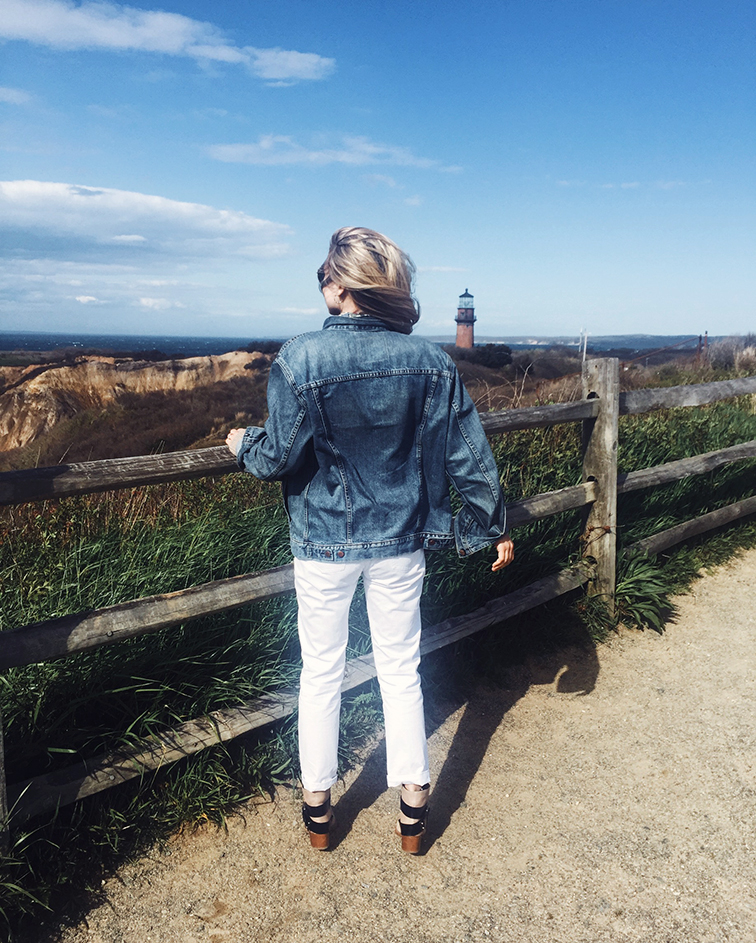 Gay Head Lighthouse, Aquinnah Cliffs, Martha's Vineyard, New England coast, Madewell perfect summer jean, Levi's denim jacket
