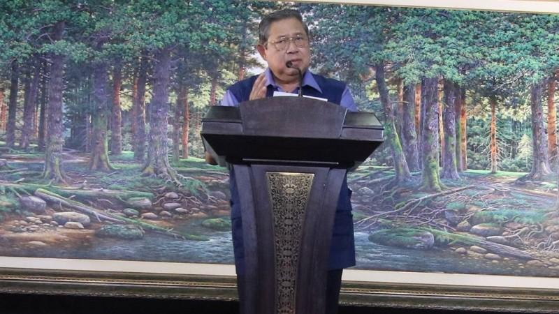 SBY berpidato di Cikeas