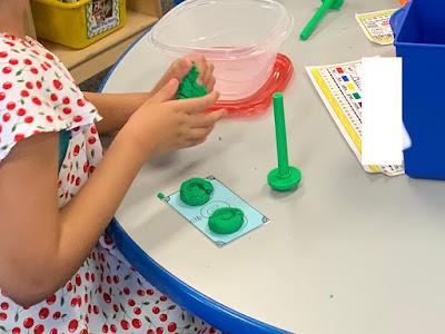Play-dough CVC literacy station activity