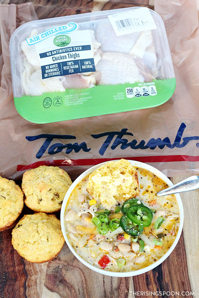 Creamy White Chicken Chili with Air Chilled Chicken From Tom Thumb