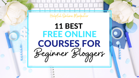 Pretty flat lay image with the phrase free online courses for beginner bloggers