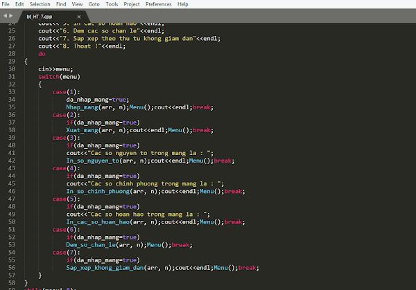 Chương trình C++ có Menu và chức năng xử lí với hàm