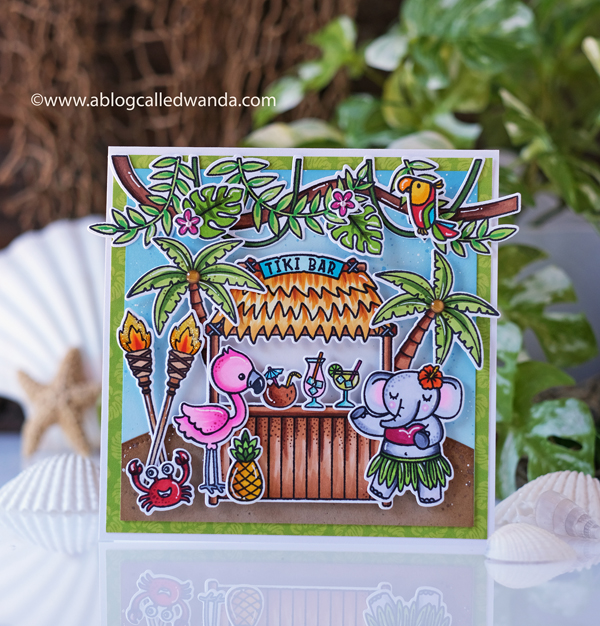 Sunny Studio Stamps: Tiki Time Tropical Scenes Card by Wanda Guessv