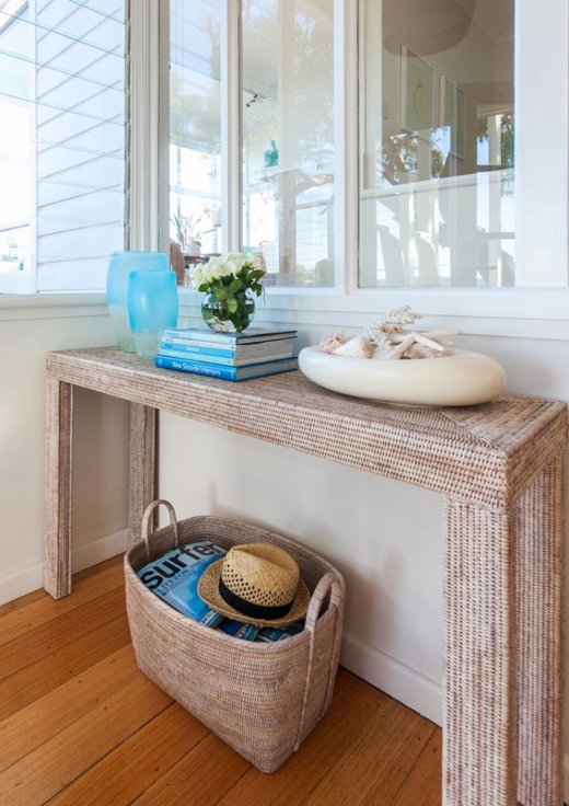 Styling a Rattan Wicker Entryway Console Table