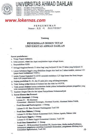 Lowongan Kerja Dosen Tetap Universitas Ahmad Dahlan Juli 2017
