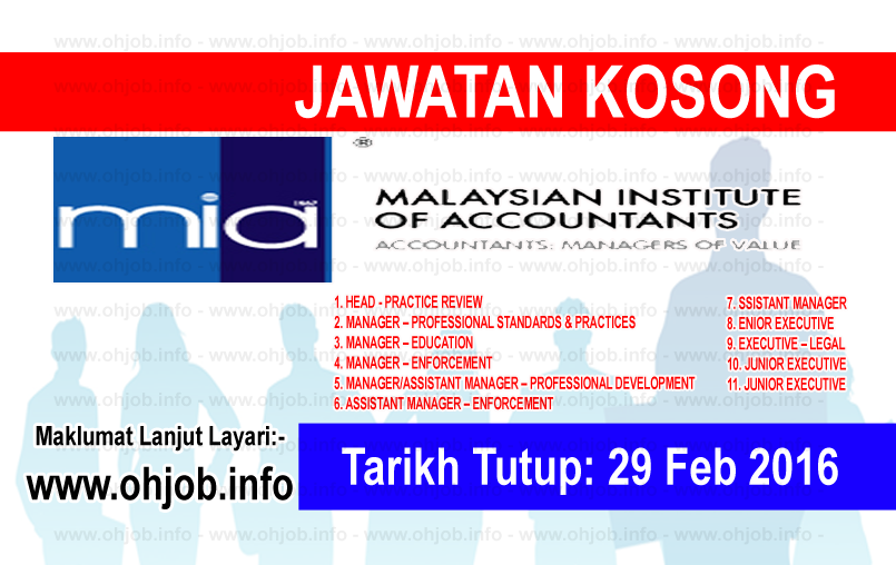 Jawatan Kerja Kosong Institut Akauntan Malaysia (MIA) logo www.ohjob.info februari 2016