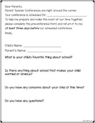 Preconference form for Parent Teacher Conferences and student-led conferences