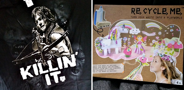 A tshirt I bought for Stu with Daryl off The Walking Dead on a a craft kit.