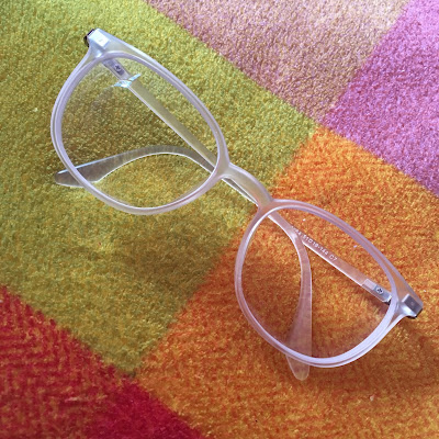 Flat lay of clear glasses from Glasses shop dot com