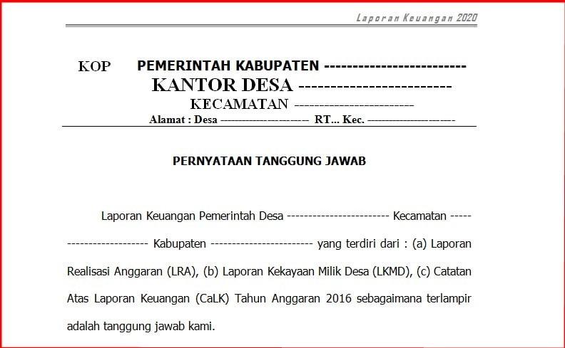 Contoh Laporan Keuangan Pemerintah Desa Terbaru Contoh Laporan Keuangan Pemerintah Desa Terbaru