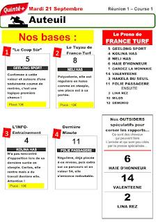 Pronostic quinté+ pmu Mardi Paris-Turf TV-100 % 21/09/2021