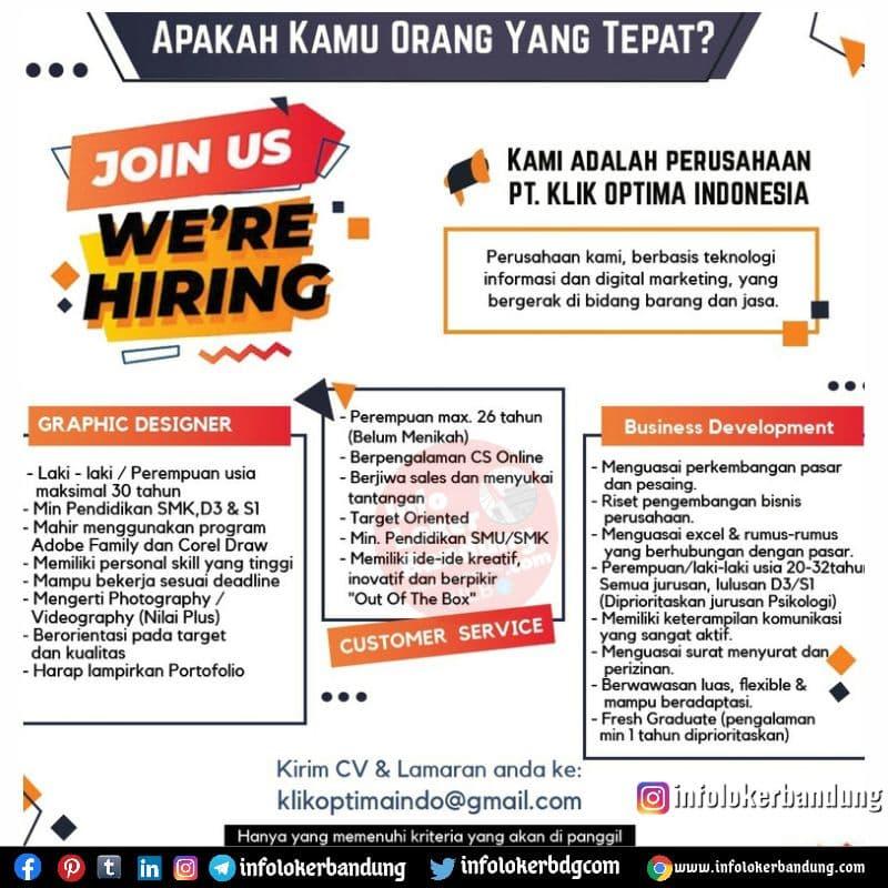 Lowongan Kerja PT.Klik Optima Indonesia Bandung Juli 2021