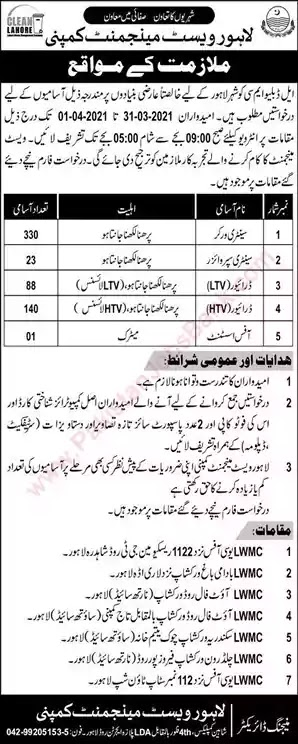 New Jobs in Pakistan Lahore Waste Management Company Jobs 2021 | Walk In Interview