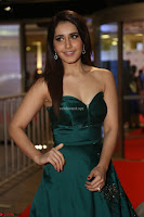 Raashi Khanna in Dark Green Sleeveless Strapless Deep neck Gown at 64th Jio Filmfare Awards South ~  Exclusive 057.JPG