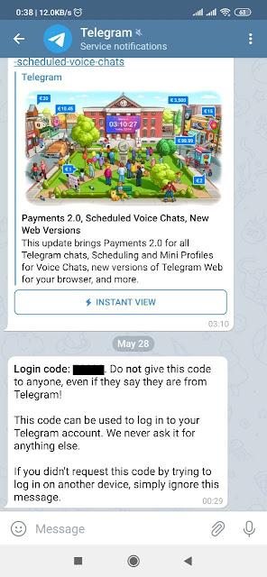 Telegram App Confirmation Message