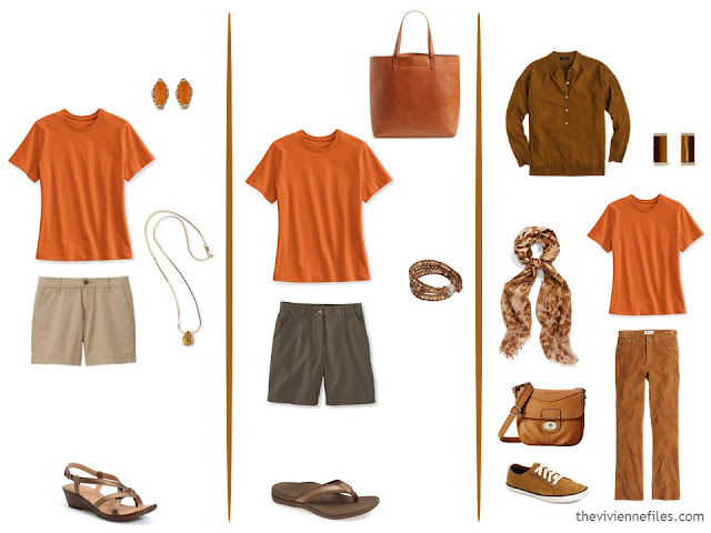 three capsule wardrobe outfits with an orange tee shirt
