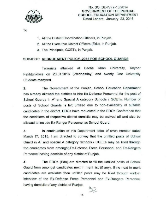RECRUITMENT POLICY 2015 FOR SCHOOL GUARDS