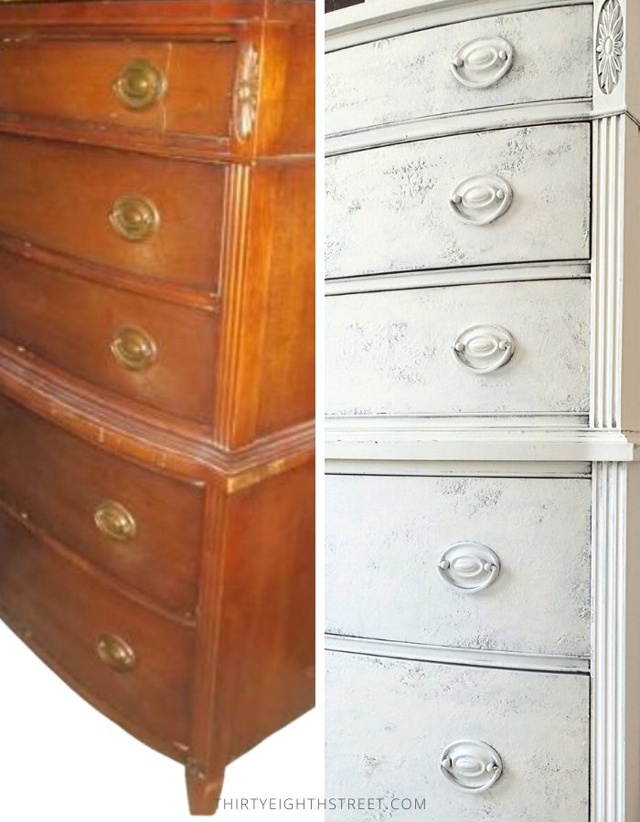 old dresser and painted dresser side by side, furniture makeover