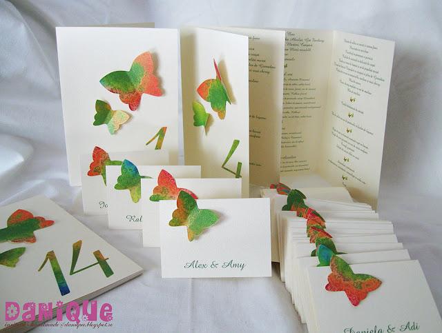 meniuri si placecarduri pentru nunta/botez cu fluturasi aplicati