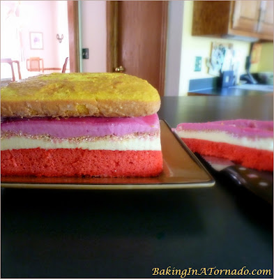 Lemon Raspberry Ice Cream Cake, two flavored cake layers, two ice cream layers and a crunchy center and frosted with whipped cream. A delicious summer treat. | Recipe developed by www.BakingInATornado.com | #recipe #dessert #cake