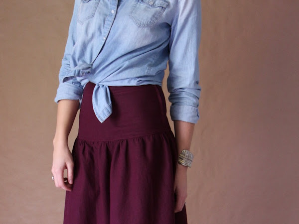 Handmade High Waisted Yoked Skirt in Plum Linen - Altered Version of Simplicity 1607