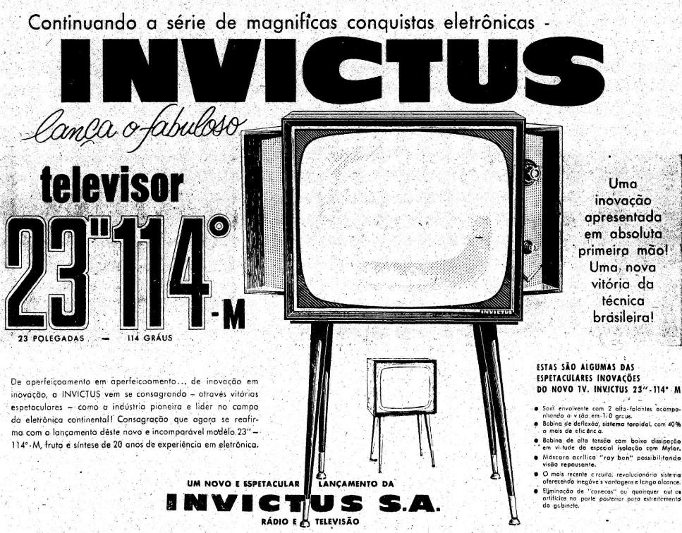 Propaganda de 1961 do televisor Invictus apostando modernidade em aparelhos de 23 polegadas