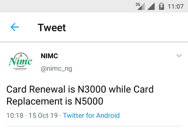 National ID Card Replacement Costs ₦5,000 - NIMC