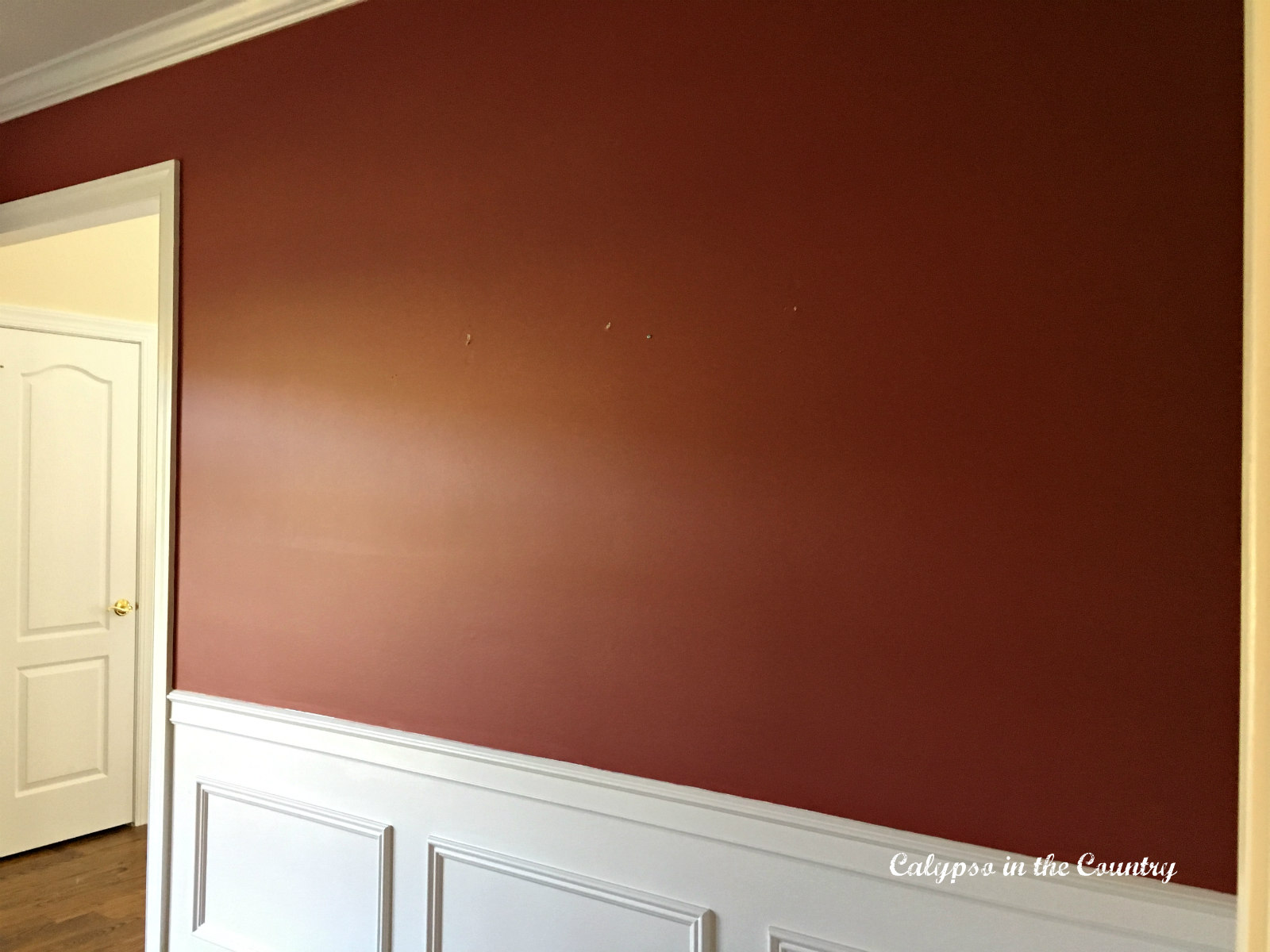 Red wall with white wainscotting