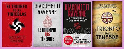 Portadas de la novela histórica de aventuras El triunfo de las tinieblas, de Enric Giacomentti y Jacques Ravenne