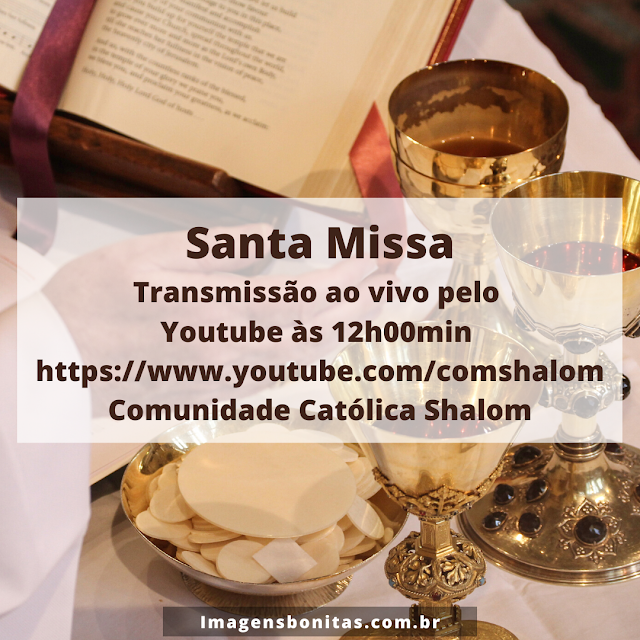 Transmissão da Santa Missa pelo youtube