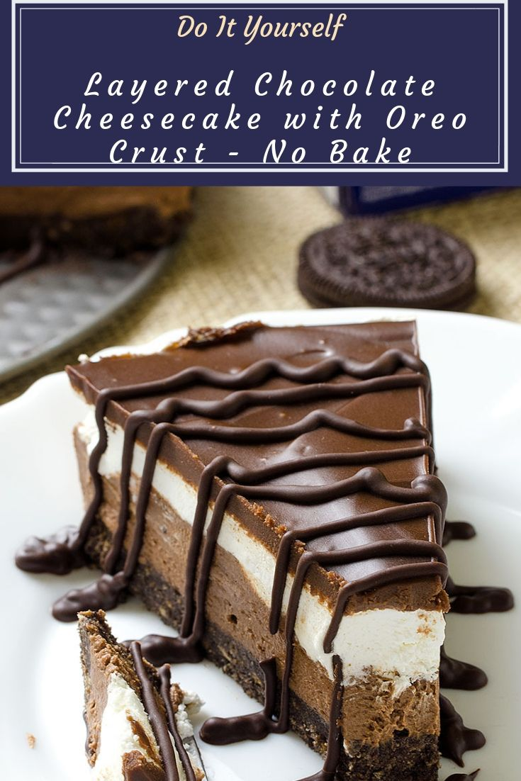 Layered Chocolate Cheesecake with Oreo Crust - creamy, moist and very delicious cake! Perfect for every occasion and so easy and quick to make - Layered Chocolate Cheesecake with Oreo Crust - No Bake!