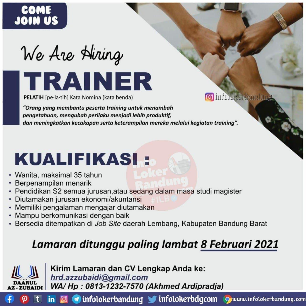 Lowongan Kerja Trainer Daarul Az-Zubaidi Lembang Bandung Januari 2021
